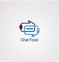 chat bubble food logo icon element and template vector image