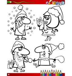 christmas themes coloring page vector image