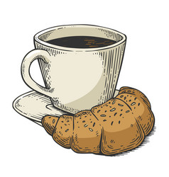 coffee and croissant sketch engraving vector image