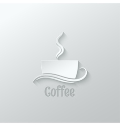 coffee cup paper cut design background vector image