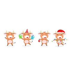 collection christmas bulls in cartoon style vector image