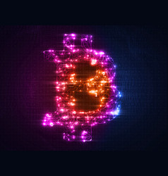 colorful bitcoin symbol constructed with vector image