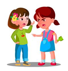 conflict between kids girls children are fighting vector image