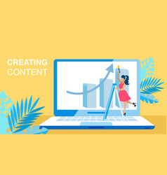 Content creating smm flat banner concept vector