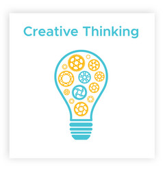 contour cogwheel lightbulb creative idea concept vector image