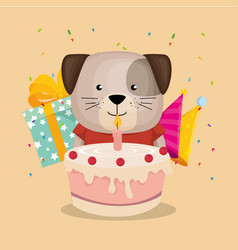 Cute and little doggy with cake and gift vector