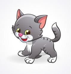 cute smiling cartoon kitten cat standing vector image