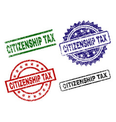 Damaged textured citizenship tax stamp seals vector