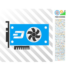 Dash video gpu card flat icon with bonus vector