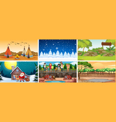 Different scenes with people and views vector