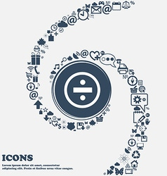 Dividing icon sign in center around many vector