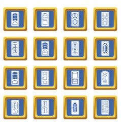 door icons set blue square vector image