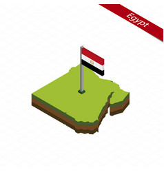 Egypt isometric map and flag vector