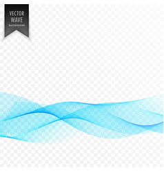 elegant smooth blue wave transparent template vector image