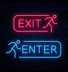 Exit and enter neon signs vector