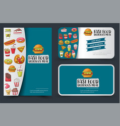 Fast food flyer and banner or business card set vector