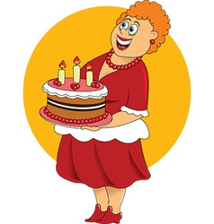 Fat cartoon woman with cake vector