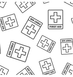 First aid sign icon seamless pattern background vector