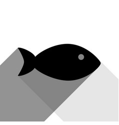 fish sign black icon with vector image