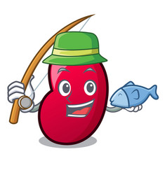 fishing jelly bean mascot cartoon vector image