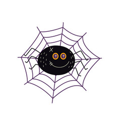 flat halloween black spider in net vector image