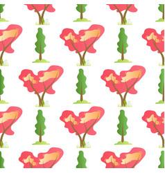 flat summer trees seamless cartoon pattern vector image