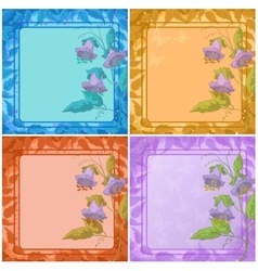 Flowers leaves frame and butterfly vector image