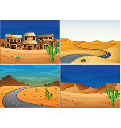 Four scenes with road in the desert land vector