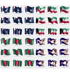 French and Antarctic Kuwait Bangladesh American vector