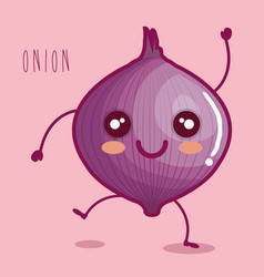 Fresh onion vegetable character vector