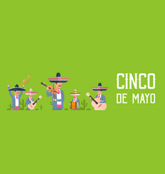 group of mexican musicians in traditional clothes vector image