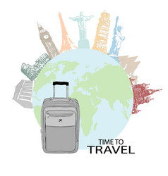 hand drawn travel bag in the background of world vector image