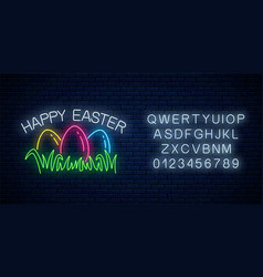 Happy easter glowing signboard with colored eggs vector