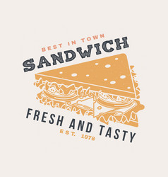 hot and fresh burger retro badge design vector image