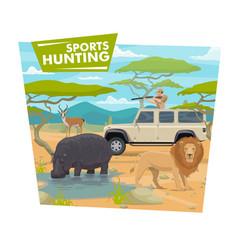 Hunting sport african safari hunter and animals vector