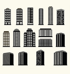 Icons of urban black and white modern buildings vector