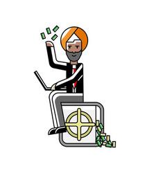 Indian businessman sitting on bank safe vector