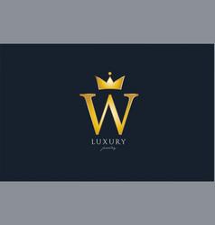 jewelry gold w alphabet letter logo icon creative vector image