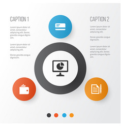 Job icons set collection of payment billfold vector