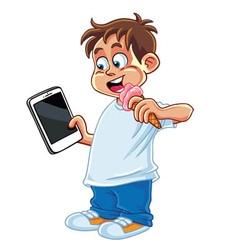 Kid playing tablet phone cartoon vector