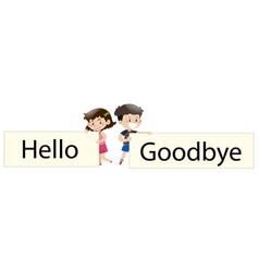 kids holding sign say hello and goodbye vector image