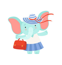 Lovely elephant girl standing with bag cute vector