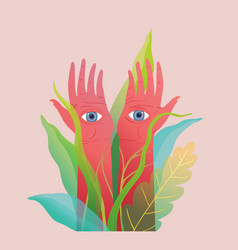 Magical hands art print with eyes watching in the vector