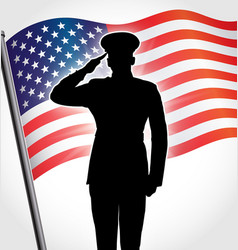 Marine silhouette with usa flag waving vector