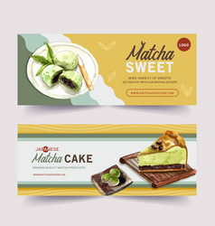 Matcha sweet banner design with cheesecake dango vector