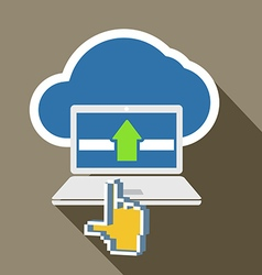 Modern laptop and cloud technology abstract vector image