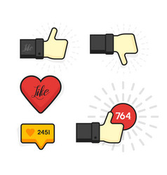modern set thumb up and like icons vector image