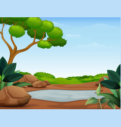 Nature scene with muddy puddle vector