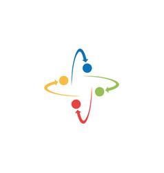 Orbit arrow circle color logo vector