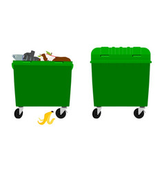 Overflowing and empty garbage bin container vector